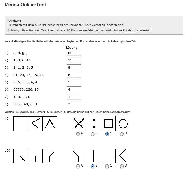 Mensa Online-Test 2013-Lösung